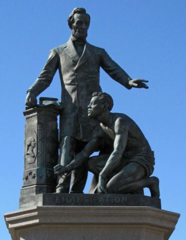 Thomas Ball's Emancipation Memorial in Washington DC, depicting Abraham Lincoln emancipating a slave. Archer Alexander was the model for the slave.