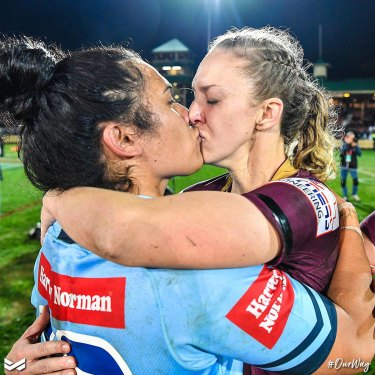 Karina Brown and Vanessa Foliaki embraced at the end of the inaugural women's State of Origin match on Friday.