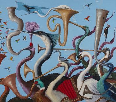 Joanna Braithwaite, Hullabaloo, 2020, oil on canvas, 175 x 198 cm.