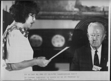Dr. Carmen Lawrence is sworn in as WA Premier by Governor Sir Francis Burt. February 12, 1990.