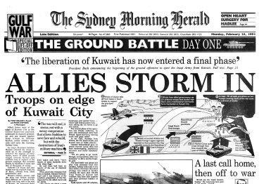 Front page of Sydney Morning Herald on February 25, 1991.