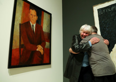 Artist Tiiu Reissar meets Wesley Noffs again, 50 years since she was his art teacher, and 57 years since she painted this portrait of his father Ted Noffs for the 1964 Archibald Prize.