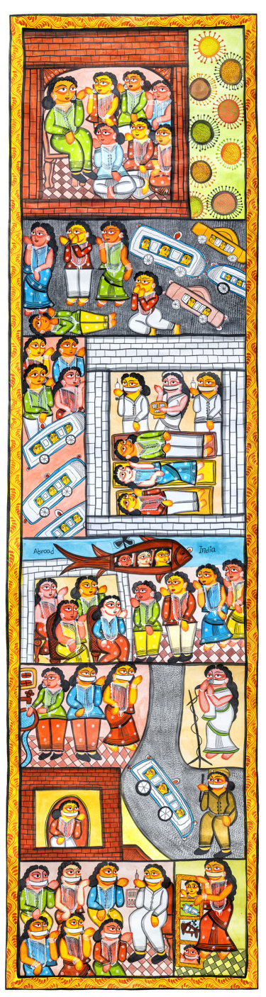 Sonia Chitrakar, Covid scroll,2020.