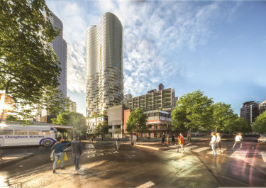 """An artist's impression of the proposed buildings on the """"Munro site"""", on the corner of Queen and Therry streets, opposite the Queen Victoria Market's deli hall."""