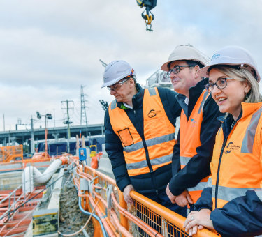 Victorian Premier  Dan Andrews and the minister for Transport Infrastructure Jacinta Allan mark a major milestone at the Metro tunnel, North Melbourne.