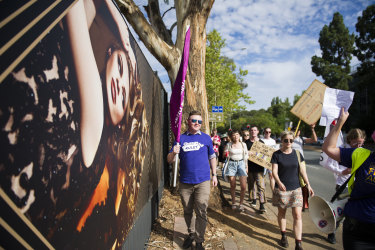 Protesters objected to Geocon's representation of women on its advertising materials.