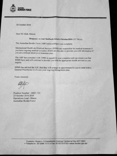 The letter from Australian Border Force to Faysal Ahmed.