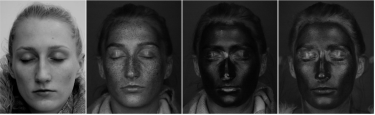 UV photo after moisturiser with SPF application, left to right: conventional camera, UV-sensitive camera, sunscreen, SPF moisturiser.
