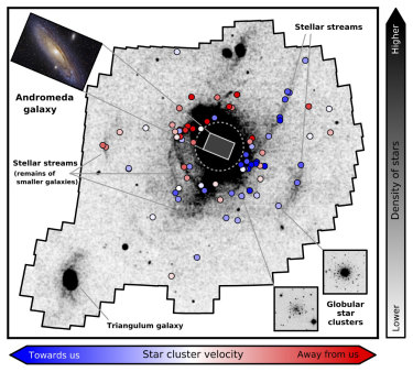 A map of the stellar debris fields surrounding Andromeda.