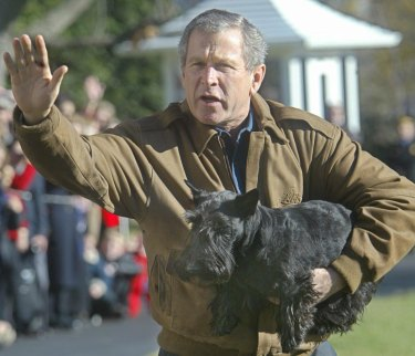 Former US president George W. Bush with his dog Barney.