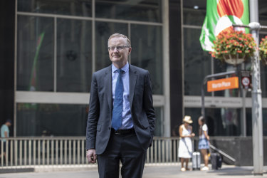 Governor of the Reserve Bank of Australia Philip Lowe in Martin Place, Sydney.
