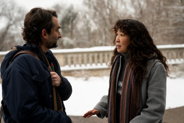 Jay Duplass and Sandra Oh in <i>The Chair</i>.