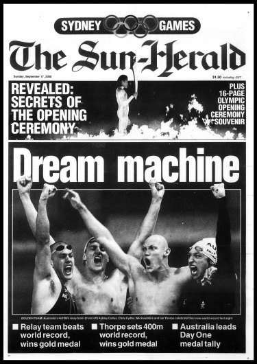 The front page of The Sun-Herald on September 17, 2000.