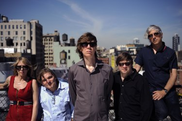 Sonic Youth on the roof of Thurston Moore and Kim Gordon's Manhattan apartment building in 2009. From left,  Kim Gordon, Mark Ibold, Thurston Moore, Steve Shelley and Lee Ranaldo.