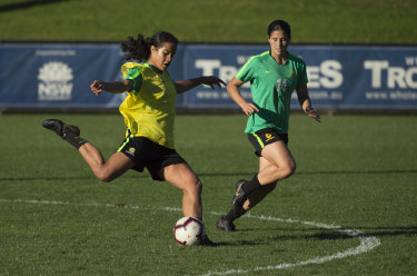 On the ball: Matildas teenager Mary Fowler training with the team on Tuesday in Sydney.