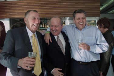 Happier times: John Singleton, Alan Jones and Ray Hadley in 2002.