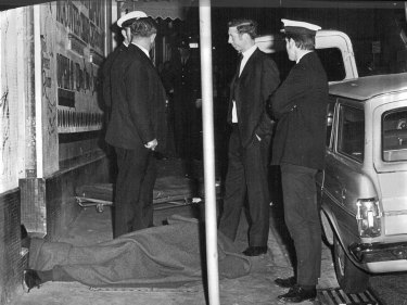 Scene of murder at the Venus Room, Orwell Street, Kings Cross on June 22, 1970.