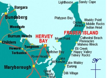 A map of Fraser Island showing the area known as Cathedrals, inland from Cathedral Beach.