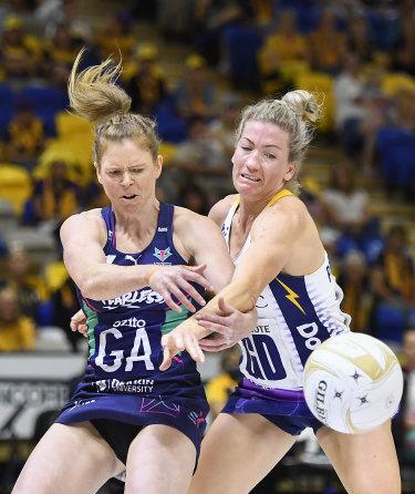 Vixen Tegan Philip and Karla Pretorius of the Lightning compete for the ball.