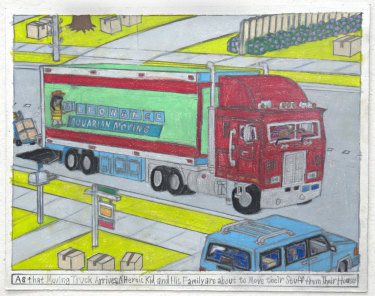 Samraing Chea,As that Moving Truck Arrives, A Heroic Kid and His Family are about to Move their Stuff from Their House,2017;greylead and colour pencil on paper,25 x 32.5 cm