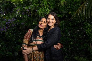 Brisbane artist Sancintya Mohini Simpson and her mother Indarami Simpson in her back garden in Brisbane.