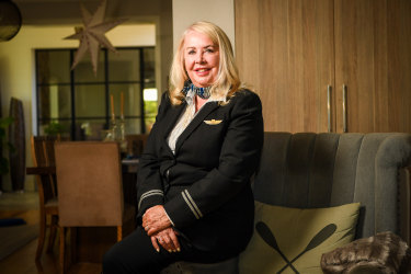 Former stewardess Marion Bradley (pictured in her flight uniform) met two people from the same September 11 flight grounded in Gander, Newfoundland, when she attended the Melbourne premiere.