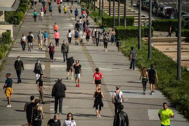 Spaniards exercising in Barcelona, Spain.