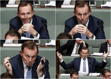 Tony Abbott reacts to a Prime Minister Malcolm Turnbull answer  on the NEG during question time on Monday.