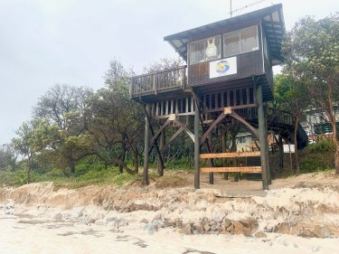 Urunga Surf Life Saving Club has had its foundations revealed by this week's king tides and storms.