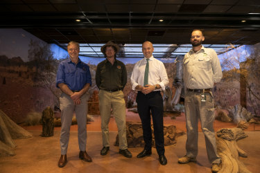 The team rewilding the deserts: ( l-r) Professor Richard Kingsford, Director of the Centre of Ecosystem Science at UNSW, Atticus Fleming, Deputy Secretary, National Parks and Wildlife, Matt Kean, the Energy and Environment Minister, and Andrew Elphinstone, Manager of Conservation and Recovery Programs at Taronga Zoo.