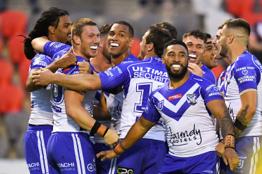The Bulldogs celebrate another try.