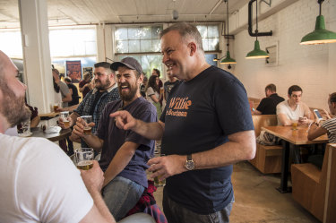 Anthony Albanese received a warm welcome from drinkers at Willie the Boatman Brewery in his electorate of Grayndler in Sydney's Inner West.