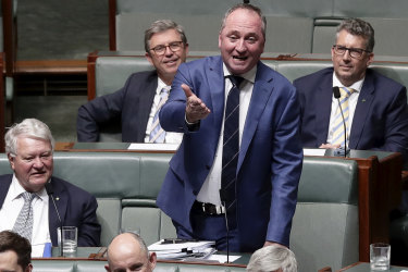 Former deputy prime minister Barnaby Joyce in Question Time on Thursday.