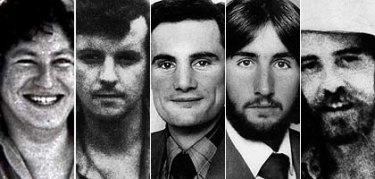 Balibo victims ... Brian Cunningham, Malcolm Rennie,  Greg Shackleton, Tony Stewart and Brian Peters.