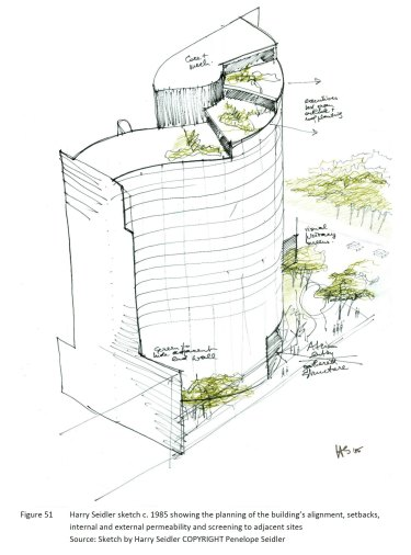 A 1985 drawing of Shell House, the tower designed by architect Harry Seidler.