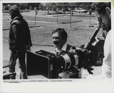 Director Gil Brealey on location for Annie's Coming Out.