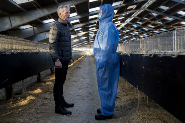 Mink breeder Peter Hindbo, left, talks with Denmark's Prime Minister Mette Frederiksen, right, during a visit to a closed mink farm.