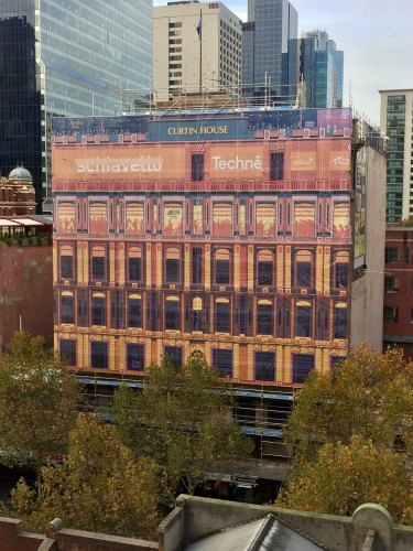 Curtin House in Swanston Street has given itself a pretty hoarding after The Age complained about ugly ones around Melbourne.