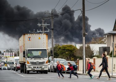 Children from Kingsville Primary school were picked up early after the school was closed due to a huge factory fire.