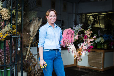 Jane Lampe, owner of Floreat in Sydney, has found sales of her wreaths made from preserved and dried flowers have boomed during COVID-19.