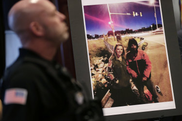A picture of Katelyn McClure and Johnny Bobbitt is displayed during a police news conference in Mount Holly, New Jersey, on Thursday.