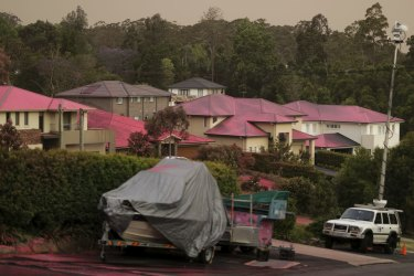 Fire retardant used on properties on Barwon Avenue during a fire in South Turramurra.