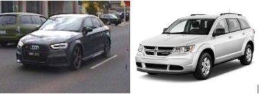 The victim's stolen grey Audi (left) and a car similar to the stolen Dodge.