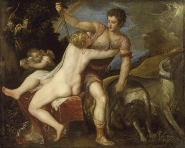 Titian: Venus and Adonis 1550s. Oil on canvas The Jules Bache Collection 1949 / 49.7.16