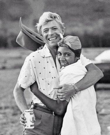 Aboriginal dancer Joelene King with David Bowie while filming
