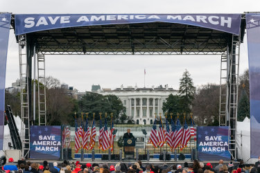 """Donald Trump addresses his supporters at the """"Save America Rally"""" on January 6."""