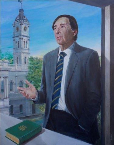 The controversial portrait of Stonnington councillor and former mayor, John Chandler, by artist Anna Minardo.