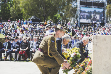 Chief of Defence Force, General Angus Campbell, The Chairman of the Council of the Australian War Memorial Mr Kerry Stokes, and representing the Returned and Services League of Australia Mr John King lay a wreath at the Remembrance Day ceremony