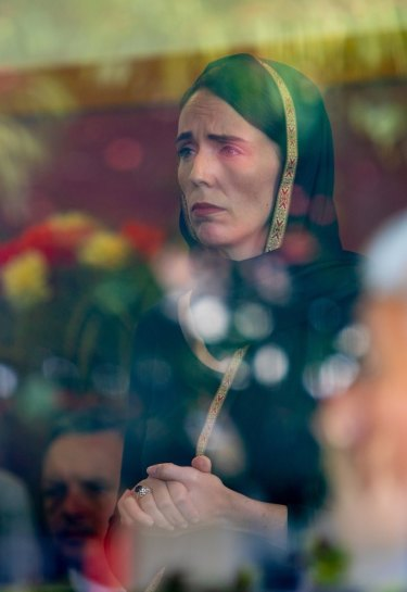 """Religious"": Prime Minister Jacinda Ardern visits members of the Muslim community in Christchurch on Saturday following Friday's mosque massacres."