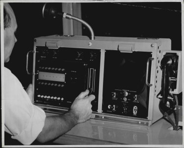 Camera switching console, December 7, 1956.